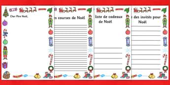 Guides de production écrite : Noël - french, christmas, role play, writing, borders, Noël, production écrite, support, liste, cadeau, invités, lettre, courses