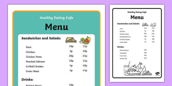 Healthy Eating Cafe Role Play Menu - healthy eating cafe, role play, menu, healthy eating, cafe