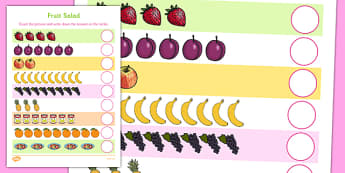 Fruit Salad Counting Sheet - olivers fruit salad, fruit salad, counting, count, 1:1 correspondance