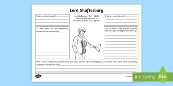 Lord Shaftesbury Philanthropist and Social Reformer Worksheet / Activity Sheet - CfE, Victorians, People in Past Societies, Factory Act, History,Scottish