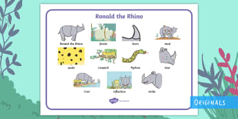Ronald the Rhino Word Mat - EYFS, Early Years, KS1, Key Stage 1, Twinkl Fiction, Twinkl Originals, Jungle, Forest, Rhinoceros, L