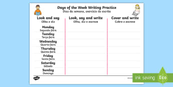 Days of the Week Writing Practice Worksheet / Activity Sheet English/Portuguese - Days of the Week Writing Practice Worksheet - practice, writing, days of the wek, days pf the week,