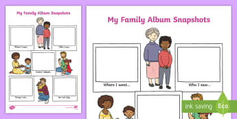 My Family Album Snapshots Worksheet / Activity Sheet - ourselves, all about me, my Family, Marvellous Me, photos, selfies, Worksheet