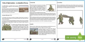 Fiche d'information : La bataille d'Arras - Histoire, history, Arras, bataille, battle, Cycle 3, Première Guerre Mondiale, First World War, Fra