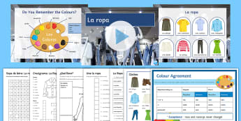 Clothes Lesson Pack Spanish - clothes, personal, description, colours, agreement, feminine, masculine