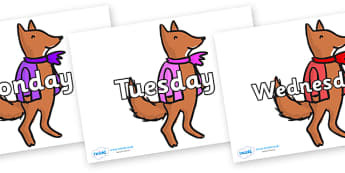 Days of the Week on Small Fox 4 to Support Teaching on Fantastic Mr Fox - Days of the Week, Weeks poster, week, display, poster, frieze, Days, Day, Monday, Tuesday, Wednesday, Thursday, Friday, Saturday, Sunday
