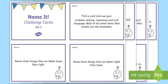Name It! Challenge Cards - lists, cards, oral language, words, reasoning, problem solving,Irish