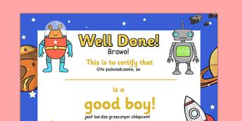 Good Boy Award Certificates Polish Translation - polish, good boy award certificates, good boy, good, boy, behaviour, certificates, award, well done, reward, medal, rewards, school, general, certificate, achievement