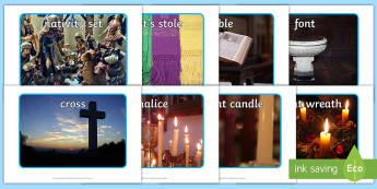 Christian Artefacts Photo Pack - font, cross, chalice, bible, nativity, stole, christianity, god, Advent, Nativity
