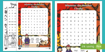 Whatever the Weather Cloudy Word Search - Exploring My World, autumn, wind, aistear, Oral Language, cloud, walk, Irish