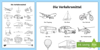 Transport Words Colouring Sheet - Transport, Travel, German, MFL, Verkehrsmittel, DAF, DAZ, Deutsch, Languages