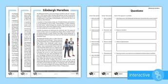 Edinburgh Marathon Differentiated Go Respond Activity Sheets - CfE, Edinburgh Marathon (27th of May), running, fitness, health and well being, long distance, festi