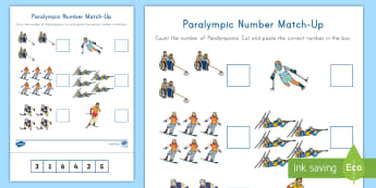 Winter Paralympics Number Match-Up Activity Sheet - One to One correspondence, number recognition, cutting skills, counting skills, worksheet, PyeongCha