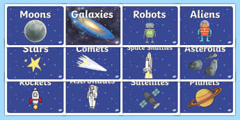 Editable Class Group Signs (Space) - Space, group signs, group labels, group table signs, table sign, teaching groups, class group, class groups, table label, space, moon, sun, earth, mars, ship, rocket, alien, launch, stars, planet, planets