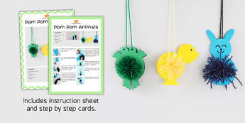 Pom Pom Chick, pom pom bunny, pom pom frog, Craft Instructions - craft, instructions, pom pom