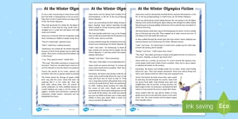 KS2 At the Winter Olympics Differentiated Story - winter, events, KS2, ice, skating