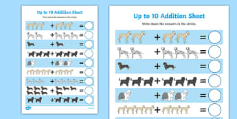 Dog Themed Up to 10 Addition Sheet - Dame Lynley Dodd, hairy maclary, addition sheet
