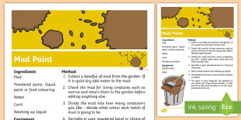 Mud Paint Recipe Outdoor Activity - Outdoor, Forest, School, EYFS, mud paint