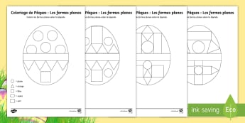 Coloriages : Les formes planes - Pâques - Pâques, Easter, 16th April, avril, formes planes, 2D shapes, coloriage, feuilles, colouring, worksh