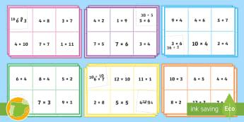 Bingo: Multiplicación y división equivalente - multiplicar, dividir, juego, mates, matemáticas, bingo, multiplicación, división, por, entre, ,Au