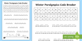 KS1 Winter Paralympic Games Code Breaker Activity Sheet - addition, calculations, winter paralympics, number bonds to 20, KS1 maths, worksheet
