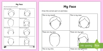 My Facial Features Worksheet / Activity Sheet - SPHE, my body, myself, me, RSE, relationship and Sexuality education, parts of my body,Irish