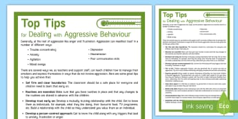 Top Tips for Dealing with Aggressive Behaviour Adult Guidance - Top Tips, behaviour, aggression, anger, classroom management