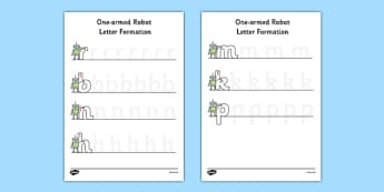 One Armed Robot Letter Formation Worksheet / Activity Sheet - one armed robot, letter formation, worksheet