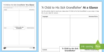 'A Child To His Sick Grandfather' by Joanna Baillie: At a Glance  Activity Sheet - Poetry analysis, poetry exploration, GCSE English Literature, GCSE Poetry, poetry anthology, Joanna