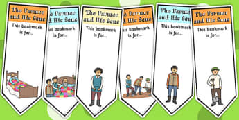 The Farmer and His Sons Editable Bookmarks - aesops fables, story