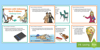Division with Unknowns Word Problems Challenge Cards  - Division, Uknowns, Word Problems, Algebra, Equations, Expressions,