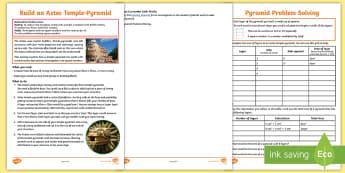 Build an Aztec Temple Activity - Aztec society, construction, Aztec religion, history, ancient civilisation, shrine, worship, skilled