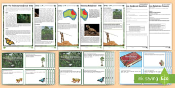 The Daintree Rainforest Guided Reading Activity Pack - Australian Geography, Queensland, Australian Landmarks, Landform, Ecosystem, wildlife, reading, comp