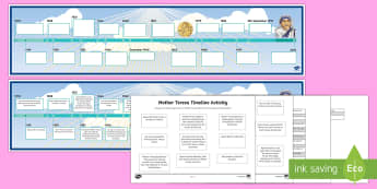 Mother Teresa Timeline Activity Sheet - Mother Teresa, KS2, timeline, significant individuals, RE, Christianity, History