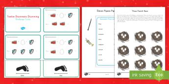 Twelve Days of Christmas Math Activity Pack - Christmas, math, 12 Days of Christmas, activity sheets, pack