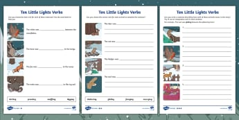Ten Little Lights Verb Differentiated Activity Sheets - Twinkl Originals, Fiction, Christmas, Winter, Snow, Cold, KS1, Grammar, Writing, worksheets
