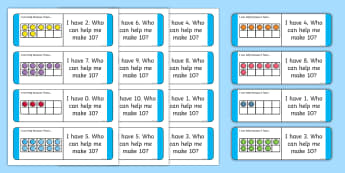 Partitioning Ten With Ten-Frames Loop Cards - CfE Addition with Number Frames, maths numeracy intervention, Number Counts, Ten, Addition, Counting