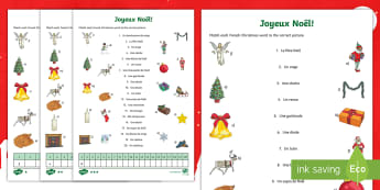 Christmas Vocabulary Matching Differentiated Activity Sheet French - French, Festivals, Christmas, Celebrations, Noël, France, Key Stage 2, traditions,French