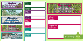 Word of the Day Display Posters English/Romanian - word cards, ambitious vocabulary, word wall, display pack, working wall, literacy display, improving