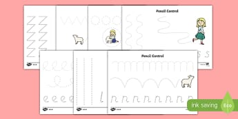 Mary Had a Little Lamb Themed Pencil Control Sheets - mary had a little lamb, nursery rhyme, pencil control