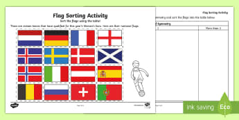 UEFA Women's Euro 2017 Flag Symmetry Activity - maths, KS1, shape space and Measure, national flags, sort