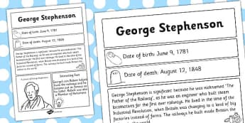 George Stephenson Significant Individual Fact Sheet - fact sheet