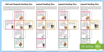 Year 3 Roll and Respond Reading Dice Nets - comprehension, understanding, questioning, Y3, lKS2, home readers, parents