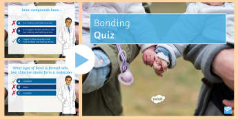 Types of Bonding Quick Quiz - covalent, ionic, metallic, bonds, delocalised electrons