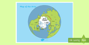 Map of the Arctic A4 Display Poster - Map of the Arctic - map, arctic, geography, display, poster,artic, antartica, georgraphy, iceland, g