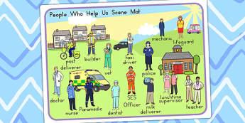 People Who Help Us Scene Word Mat - keywords, keyword mat, words