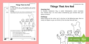 Things That Are Red Activity Sheet - Amazing Fact Of The Day, activity sheets, powerpoint, starter, morning activity, February, red, indo