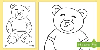 Teddy Bear Colouring Page - Key Stage One, KS1, EYFS, Winnie the Pooh, Fun, Activity, Honey, Colours, Poo Bear, Christopher Robi