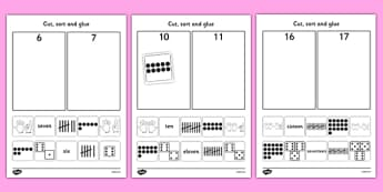 Cut and Stick Number Sort Worksheet / Activity Sheets - fine motor skills, maths, Count, numeral recognition, numbers to 20, number representation