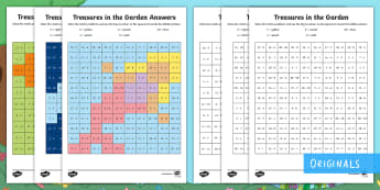 Treasures in the Garden Subtraction Maths Mosaics Activity Sheets - takeaway, minus, less than, subtract, colour, worksheets